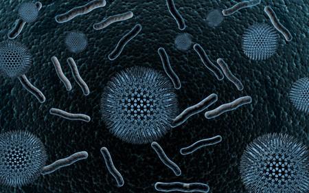 Digital illustration of bacteria in   colour background    illustration