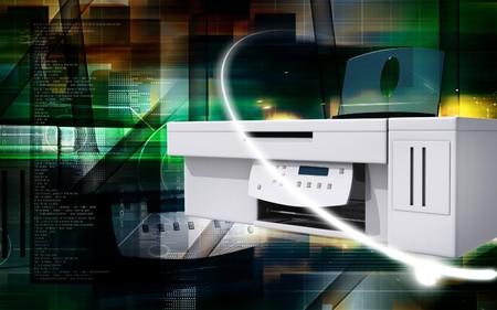 Digital illustration of printer in colour background  illustration