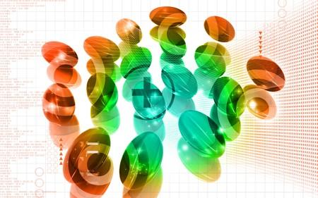 Digital illustration of Liver cod capsule in colour background  illustration