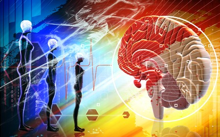 oblongata: Digital illustration of  brain and human body in colour  background