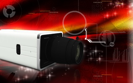 inflating: Digital illustration of video camera in colour background