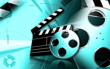 entertainment icon: Digital illustration of   film in   colour background