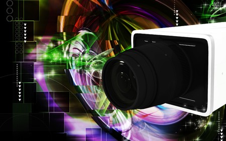 tubeless: Digital illustration of video camera in colour background