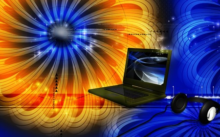 lap top: Digital illustration of lap top in colour background