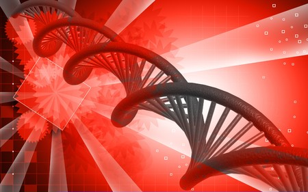 Digital illustration DNA structure  in colour background Stock Illustration - 7279823