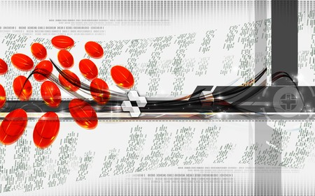 Digital illustration of Liver cod capsule in isolated background  illustration
