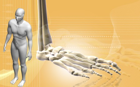 Digital illustration of  Leg bone and human body in colour background   illustration