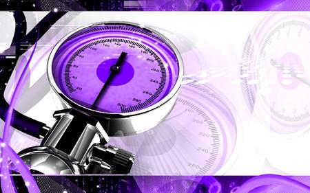Digital illustration of sphygmomanometer in colour background Stock Illustration - 7429617