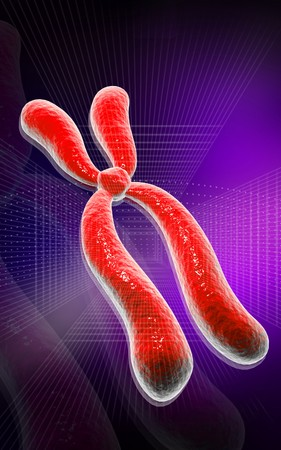 Digital illustration  of chromosome in   colour background   Stock Illustration - 7429577