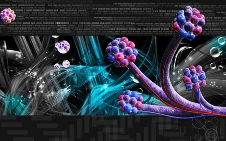 Digital illustration of  alveoli  in  colour  background