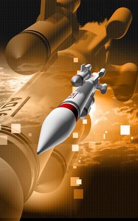 aerospace: Digital illustration of rocket in colour background