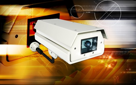 Digital illustration of security camera in colour background Stock Illustration - 7453375