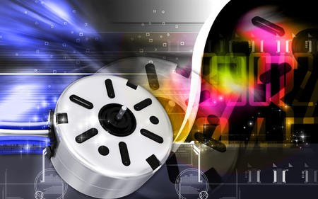 technique: Digital illustration of electric stepper in colour background