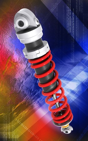 Digital illustration of Shock absorber in colour background Stock Illustration - 7460817