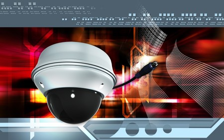 building security: Digital illustration of security camera in colour background