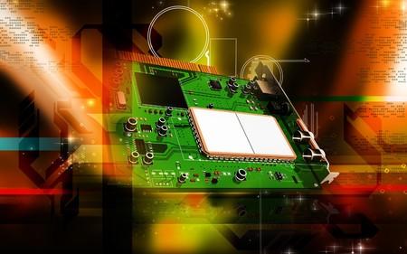 Digital illustration of video capture card in colour background  illustration