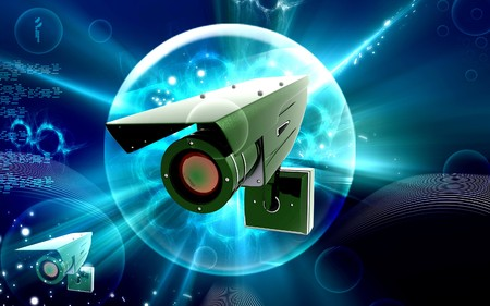 Digital illustration of security camera in colour background Stock Illustration - 7526391