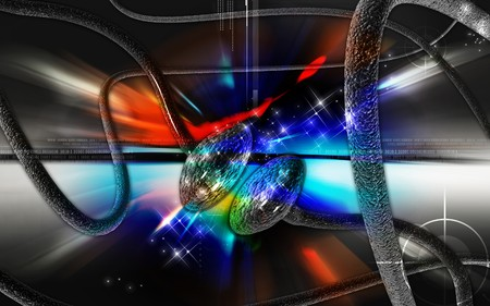 nerve signals: Digital illustration of synapse in colour background   Stock Photo