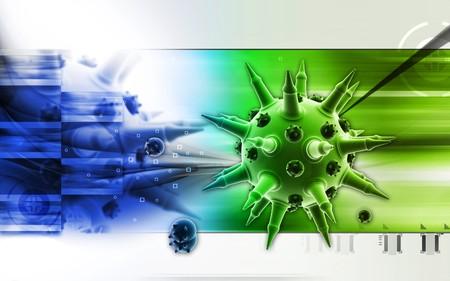 Digital illustration of  Flu virus in colour  background Stock Illustration - 7535340