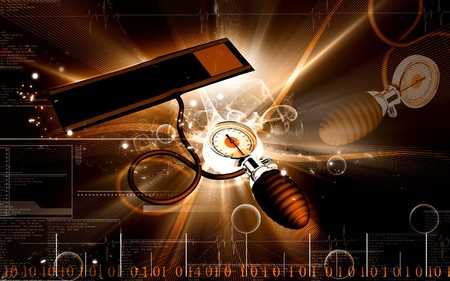 Digital illustration of sphygmomanometer in colour  background  Stock Illustration - 7544035