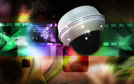 video wall: Digital illustration of security camera in colour background