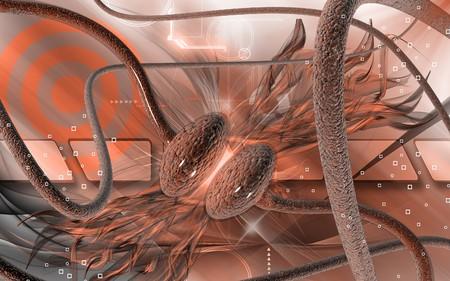 Digital illustration of synapse in colour background  illustration