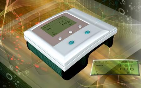 hypertensive: Digital illustration of  blood pressure monitor in colour  background