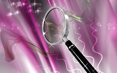 elective: Digital illustration of a magnifying glass in colour background