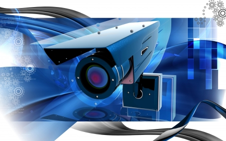 camera surveillance: Digital illustration of security camera in colour background