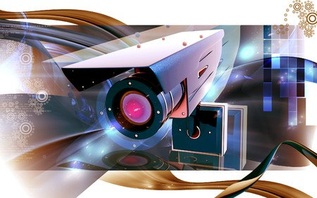 Digital illustration of security camera in colour background Stock Illustration - 7857917