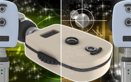optometrist: Digital illustration of ophthalmoscope in colour background
