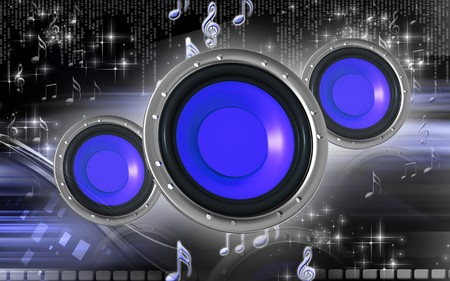 Digital illustration of car stereo in colour background  illustration