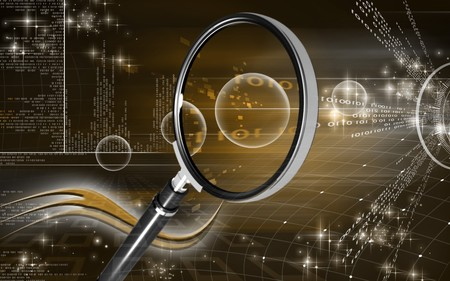 Digital illustration of a magnifying glass in colour background