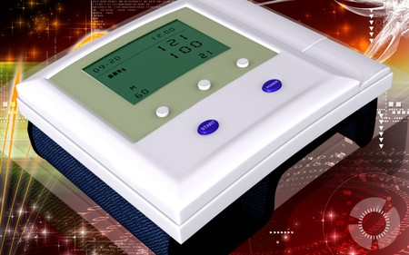 Digital illustration of  blood pressure monitor in colour  background  illustration