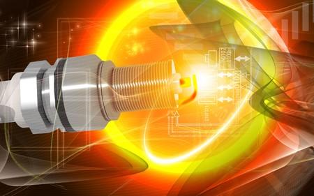 Digital illustration of Spark plug in colour background  Stock Illustration - 7931443