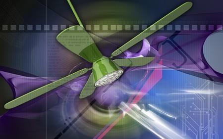 Digital illustration of ceiling fan in colour background  illustration