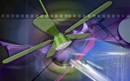 ceiling fan: Digital illustration of ceiling fan in colour background  Stock Photo