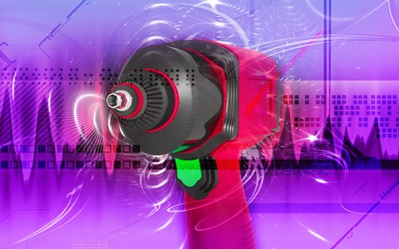 Digital illustration of impact wrench in colour background  illustration