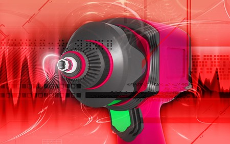 Digital illustration of impact wrench in colour background Stock Illustration - 7988120