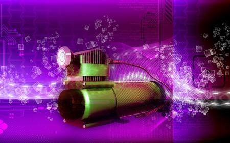 Digital illustration of air compressor in colour background  illustration