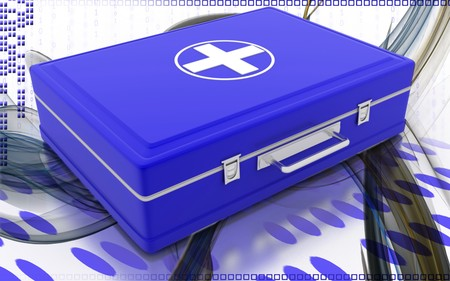 Digital illustration of First aid box  in colour background   illustration
