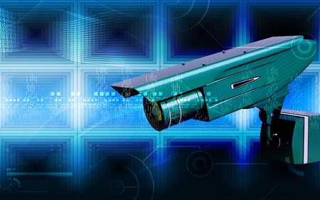 Digital illustration of security camera in colour background Stock Illustration - 8031277