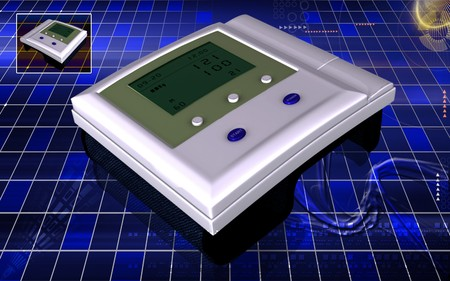 blood pressure monitor: Digital illustration of  blood pressure monitor in colour  background