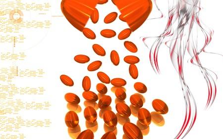 Digital illustration of liver code capsule in colour background Stock Illustration - 8179443