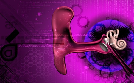 Digital illustration of  ear in colour  background   Stock Photo