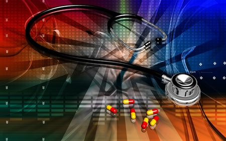Digital illustration  of stethoscope and capsule in colour background  illustration