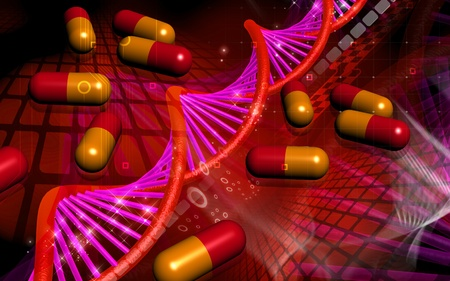 Digital illustration DNA structure and Capsule in colour background   illustration