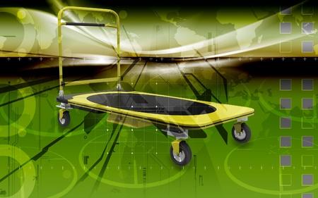 Digital illustration of Platform trolley in colour  background  illustration