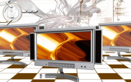 Digital illustration of LCD Monitor in colour background  illustration