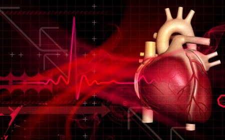 Digitální ilustrace srdce v barvě pozadí